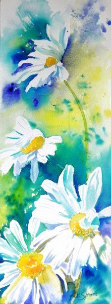 Tall Daisies Watercolour, By Ruth S Harris, UK, wonderful selection of paintings on her website