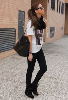 black leggings wedge sneakers tshirt black scarf