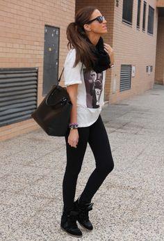 black leggings wedge sneakers tshirt black scarf