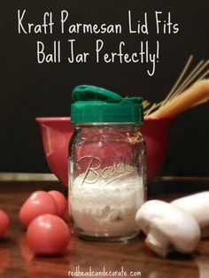 "I've seen it a million times, and finally tried it today. This ""Ball Parmesan Cheese Shaker"" idea is all over Pinterest. This is MY version. It's very simple. Just fill a Ball Jar with parmesan cheese, and switch the lids. No more crappy plastic holding your cheese for months. This ""Ball Jar Parmesan Cheese …"