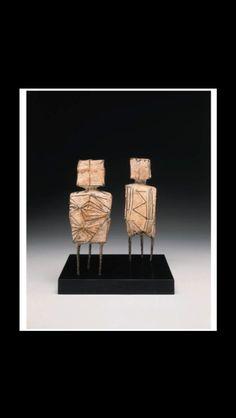 "Lynn Chadwick - ""Standing couple"" - Bronze with grey patina - Each : 27,4 x 7 x 5 cm (*)"