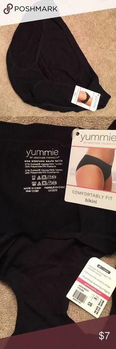 NWT Yummie by Heather Thomson bikini panty NWT Yummie by Heather Thomson black bikini panty; one size fits small to xlarge Yummie by Heather Thomson Intimates & Sleepwear Panties