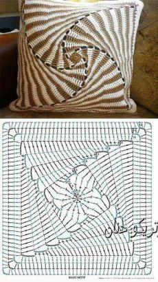 Crochet Bedspread Pattern, Crochet Motifs, Crochet Square Patterns, Crochet Stitches Patterns, Crochet Chart, Crochet Granny, Afghan Patterns, Knitting Patterns, Crochet Cushion Cover
