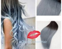8A Remy Ombre to Icey Blue Gray Grey Human Prebonded Tape Hair Extensions Hair Extensions