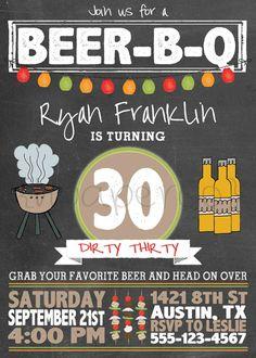 Printable Birthday Party Invitation Beer-B-Q / by smoochandbean