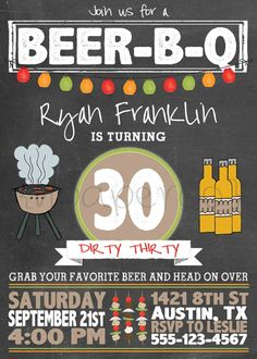 Printable Birthday Party Invitation  BeerBQ / BarBQ by HPaperCo, $15.00
