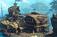 Pirate town Picture (2d, architecture, fantasy, pirates)