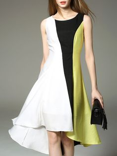Color-block Asymmetric Midi Dress