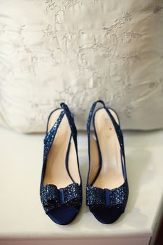 Beautiful Navy Glitter Kate Spades ... something blue, wedding shoes, heels Maybe I will have more than one pair of shoes....