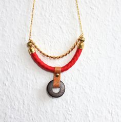 MAYA crescent necklace in Cherry Red /// Rope, Leather and Wood.