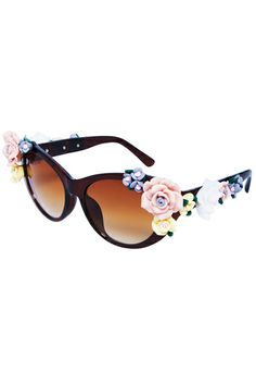 Rose Embellished Brown Sunglasses