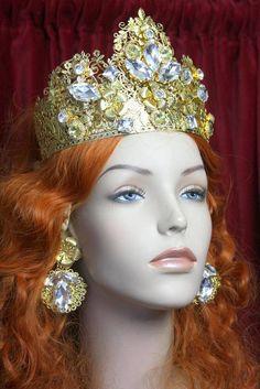 Set Of Baroque Rocooco Gold Filigree Clear Crystal Crown