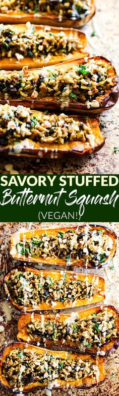 Take advantage of fresh squash with this easy Savory Vegan Stuffed Butternut Squash recipe! It's savory with a hint of sweet & perfect for the holidays. In partnership with @SweetEarthFoods. #ad