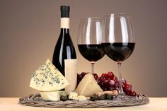 Drinks Wine Cheese Grapes Stemware Bottle Food