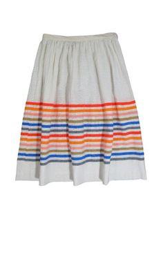 rainbow striped tulla skirt / lemlem