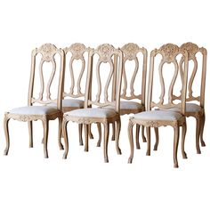 Set of Six Stripped Oak Antique Dining Chairs, circa 1880 | From a unique collection of antique and modern dining room chairs at https://www.1stdibs.com/furniture/seating/dining-room-chairs/