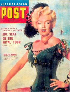 Marilyn Monroe on the cover of Australasian Post magazine, March 25, 1954, Australia. Cover photo of Marilyn in publicity for River of No Return, 1954.