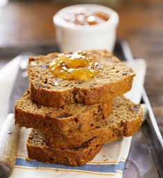 Chopped and pitted dates stand out beside the hint of maple syrup in this dark brown, nutty, quick bread. This recipe is from Ruth Smiley of Smiley Brothers maple syrup producers in Indiana.