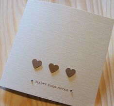 Handmade Wedding Happy Ever After Hearts Card - Can be personalised £2.69