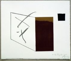 Artist: Antoni Tàpies, title: Variation 3 on the right angle, technology: Etching, Carborundum, vernis mou