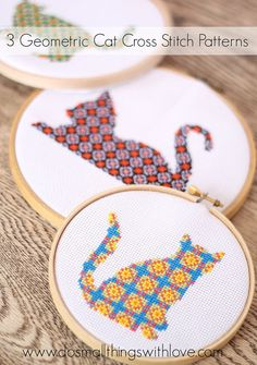 3 Geometric Cat Cross Stitch Patterns!