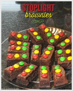 Our sweet former nanny brought these delicious brownies to my youngest's birthday party a few weeks ago. How cute is it that they look like little traffic lights? They went perfectly with the race ...