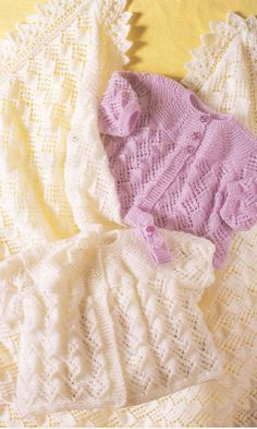 Baby Shawl, Coats and Headband Knitting Pattern PDF instant download. To fit size 14 - 18 inch. Double Knitting and 4 Ply yarn by EdithCrafts on Etsy