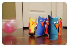 Owl bowling game from toilet paper rolls