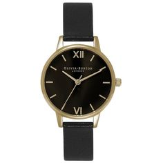Olivia Burton Midi Dial ($130) ❤ liked on Polyvore featuring jewelry, watches, accessories, womens-fashion, olivia burton, black face watches, olivia burton watches, dial watches and leather wrist watch