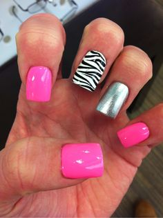 I would do all hot pink but the ring finger zebra.