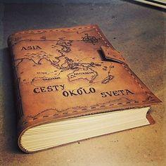 ardeas / Kožený zápisník s mapou A5 (na objednávku) / leather journal / pyrography / handmade bookbinding / map / www.ardeas.sk