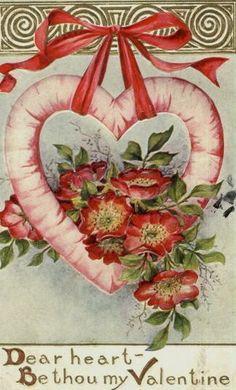 Valentine Vintage Postcard - dear heart - be thou my Valentine