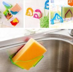 Home Decor   Shelf Bathroom Sets Super Suction family Sucker Hooks for sponge Kitchen Accessories – US $0.78
