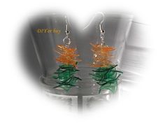 Made from plastic bottle #recycling #upcycled #plastic #bottle #jewelry #orange #green #ecofriendly #DIY #DIY_or_buy #handmade #handcrafted #Hungary #earrings