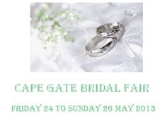 Hosted by Cheryl Wade Events - Cape Gate Bridal Fair will be held 24th May - 26th May - Come along all those to be wed - and see what is out there and on offer - lots of give-aways, prizes and competitions to enter - visit the moments2media stall and come along and say hi - between House and Home and Fashion Express - near the bouquet competition - See U there