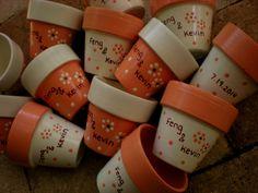 Painted Flower Pot Wedding Favors Small by HappyMooseGardenArt, $3.25
