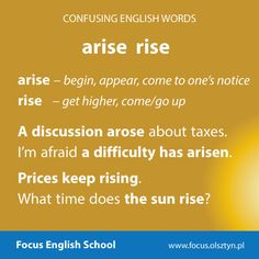 The confusing English words: arise, rise