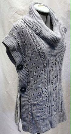 Free knitting pattern for Tabard Vest and more vest knitting  patterns(Pretty Top Sweaters)
