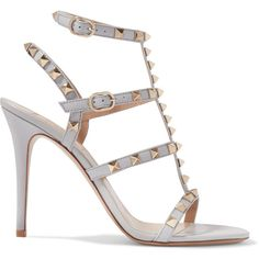 Valentino Rockstud patent-leather sandals (£690) ❤ liked on Polyvore featuring shoes, sandals, zapatos, light gray, valentino sandals, patent sandals, strappy high heel shoes, valentino shoes and strap sandals