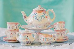 Frozen tea set the movie Anna and Elsa inspired tea party.... child's tea set Personalized Tea Set and 4 Matching Tea Cups