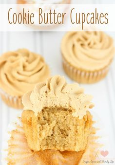 Cookie Butter Cupcakes with Cookie Butter Frosting Recipe - .-Cookie Butter Cupcakes with Cookie Butter Frosting Recipe – Sugar, Spice and Family Life Cookie Butter Cupcakes - Butter Frosting, Frosting Recipes, Cupcake Recipes, Cookie Recipes, Dessert Recipes, Simple Cupcake Recipe, Cupcake Ideas, Butter Cookies Recipe, Cookie Butter