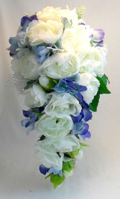 Fake Artificial Flowers Teardrop Wedding Bouquet White Peony Rose Blue Hydrangea