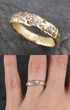 Raw Rough Uncut Diamond Wedding Band Gold Wedding Ring. One of a kind wedding band for a one of a kind person. #ring #weddingring #ad