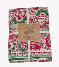 April Cornell Christmas Paisley Floral 100% Cotton Tablecloth NEW NWT #AprilCornell
