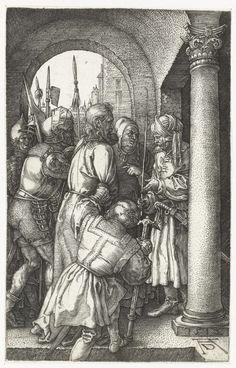 Albrecht Dürer | Christus voor Pilatus, Albrecht Dürer, 1512 | Christus wordt door gewapende mannen voorgeleid aan een man met een tulband op (Pilatus). Deze prent is onderdeel van een serie van 16 prenten met scènes uit het Lijdensverhaal.
