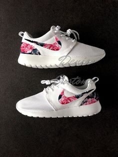 US 9.5 Womens. Nike Roshe Run Womens One White Custom Pink Floral Print. Ready to ship in 2 business days!!!