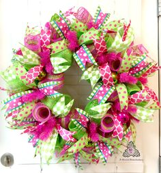 Summer Hot Pink Lime Green Deco Mesh Wreath by AQuaintHaberdashery on Etsy