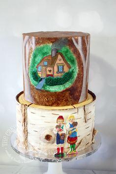 Black Forest-inspired baby shower cake. Hand-painted fondant. Hansel and Gretel.