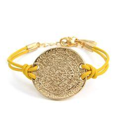Ettika Phaistos coin leather bracelet
