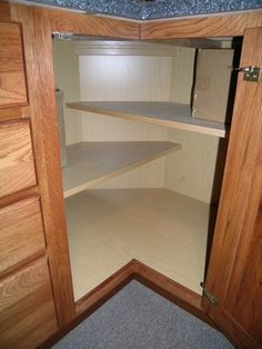corner base cabinet shelves; Oh I LOVE this idea! Different from lazy Susan and just straight shelves!